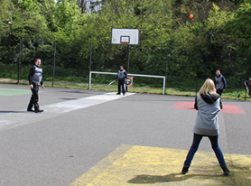 Police Take Part in Eastleigh Cage Cricket Session